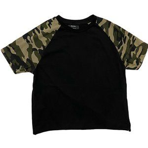 Bershka Raglan T-shirt with Camo Print Sleeves